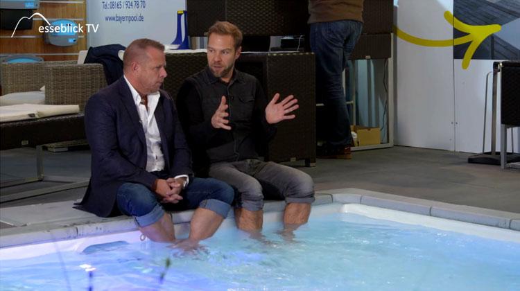 'Poolguru' Axel Steinbach mit TV Moderator Jürgen Groh - Heim+Handwerk 2016
