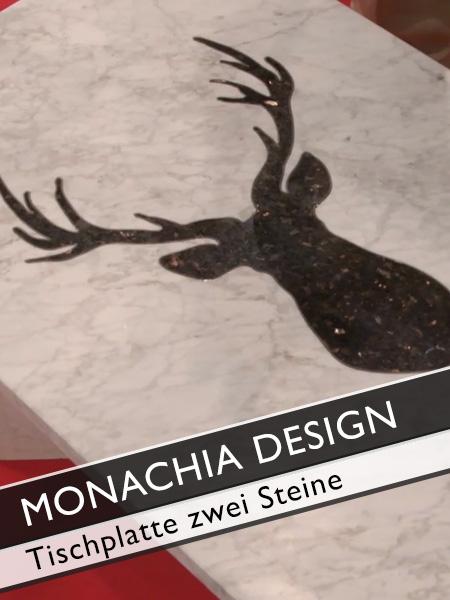Monachia Design Tischplatte mit zwei verschiedenen Steinen