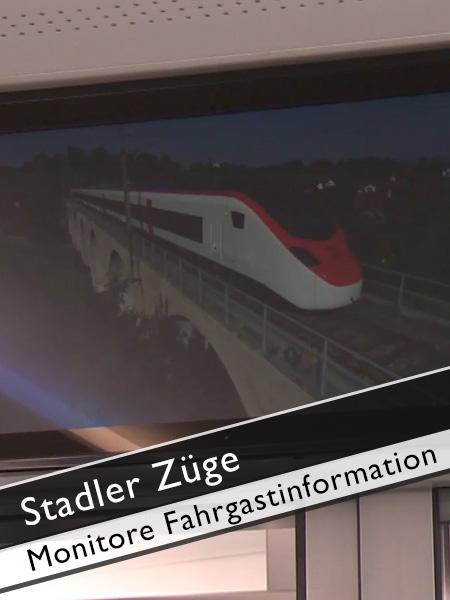 Stadler Züge Monitore für Fahrgastinformationen
