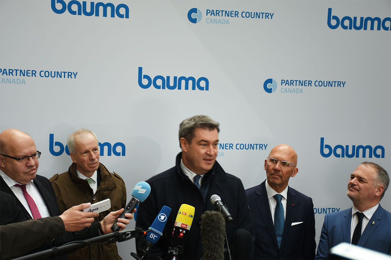 bauma 2019 Eröffnung: Peter Altmaier, Stéphan Dion, Markus Söder, Klaus Dittrich, Jonatan Julien