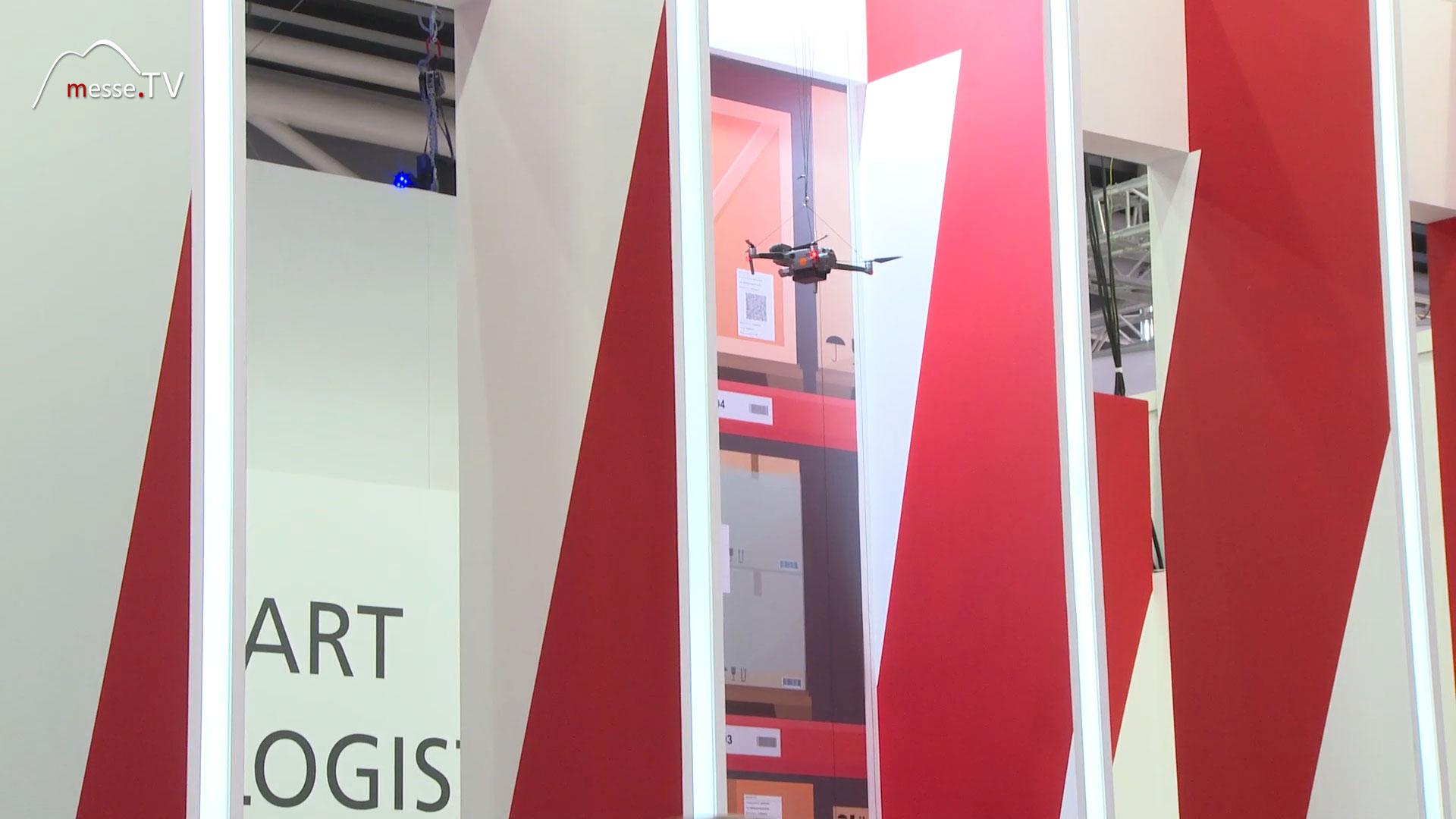 Drohne Logistik Hochregal Schmalgang GROUP7